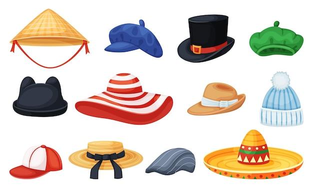 Chapeaux de dessin animé cylindre panama casquette de baseball béret sombrero été ensemble de chapeaux élégant