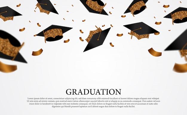 Chapeaux de graduation dorés volants avec des confettis dorés dans l'air pour les collèges