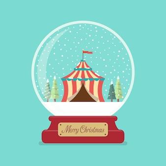Chapiteau de cirque en boule de verre joyeux noël.