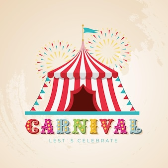 Chapiteau de cirque avec feux d'artifice et lumières de typographie de carnaval