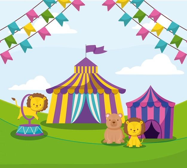 Chapiteau de cirque avec guirlandes et animaux mignons