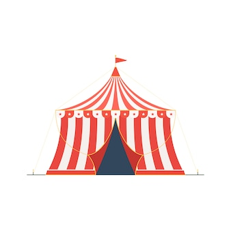 Chapiteau de cirque isolé sur blanc