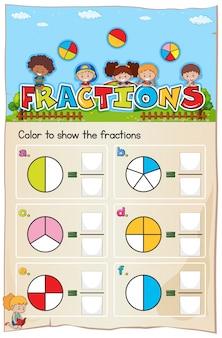 Chapitre sur les fractions de feuille de mathématiques avec photo