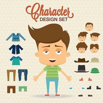 Character design mignon avec des tissus et des styles de cheveux