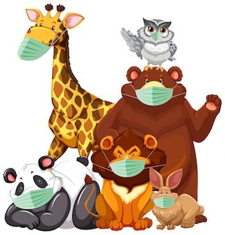 Charater de dessin animé d'animaux sauvages portant un masque