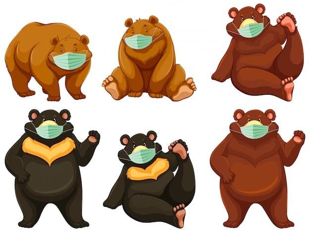 Charater de dessin animé ours sauvage portant un masque
