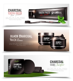 Charcoal cosmetics set de bannières