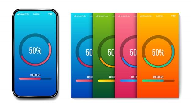 Chargement de la barre de progression mobile, modèle de préchargement.