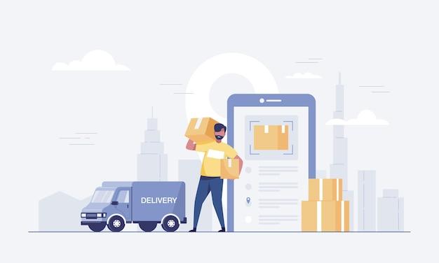 Chargement de la boîte de transport de l'ouvrier dans un camion. et application mobile pour le suivi de la livraison des commandes. illustration vectorielle