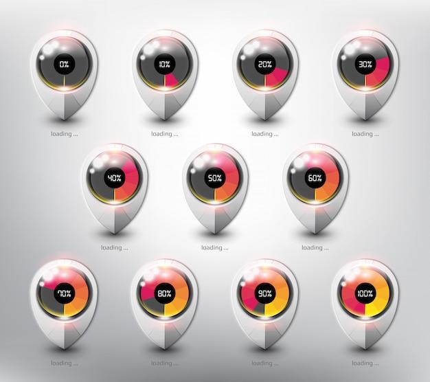 Chargement du chargeur de tampon de site web. icône de chargement dans différents états et pourcentages de chargement. isolé sur la surface blanche.