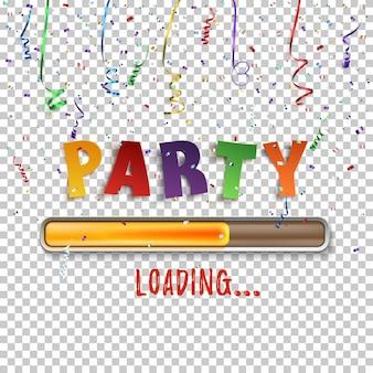 Chargement de fête avec des confettis et des rubans colorés