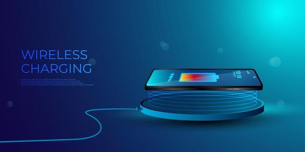 Chargement sans fil de la batterie du smartphone.