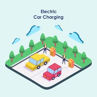 Chargement de voiture électrique isomatrique à la station de charge