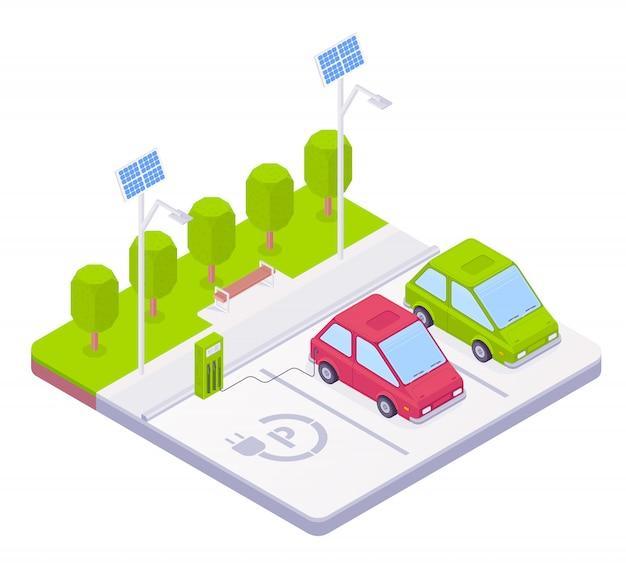 Chargement de la voiture électrique à la station de charge.