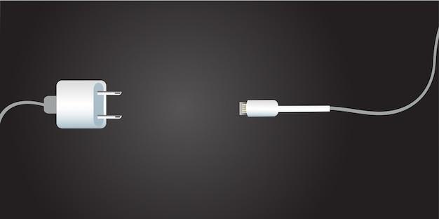 Chargeur de batterie et fond noir