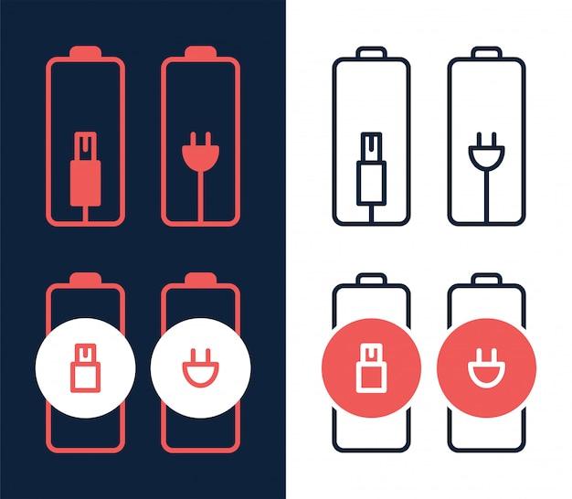 Chargeur de batterie par icône de prise électrique