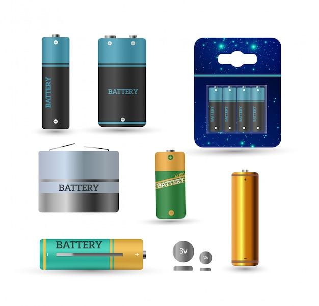 Chargeur de batterie avec piles et indicateurs de doigt bas, haut isolé.