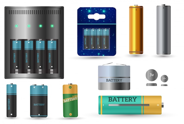 Chargeur de batterie avec des piles et des indicateurs de doigt bas, haute illustration isolated.vector.