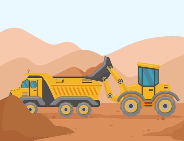 Chargeur et benne basculante sur l'illustration de dessin animé de chantier de construction