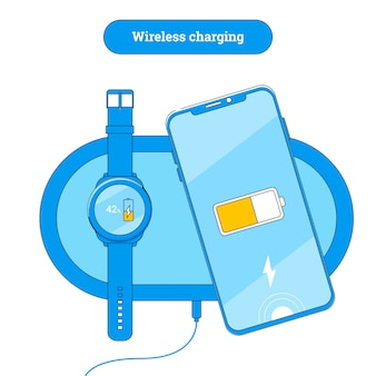 Chargeur sans fil avec téléphone portable et montre intelligente.