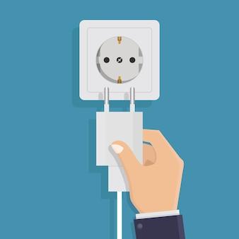 Chargeur de téléphone intelligent sur illustration vectorielle bleu, design plat