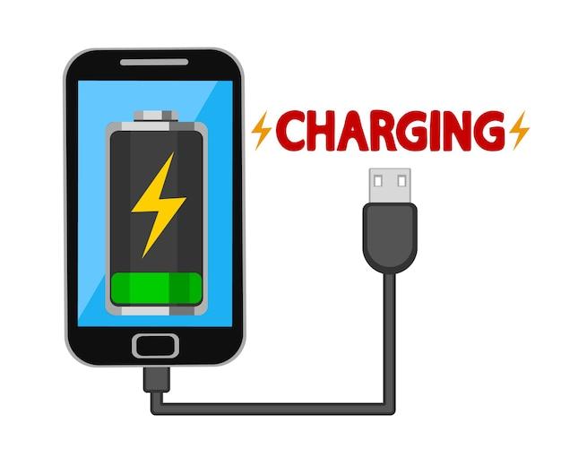 Chargez votre téléphone mobile via un câble usb sur blanc.