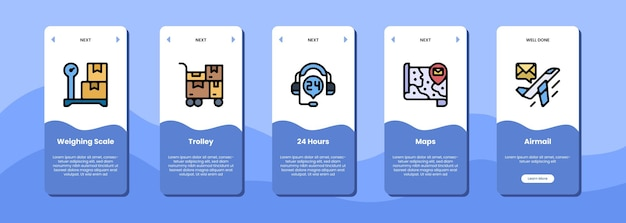 Chariot de balance d'écran d'application mobile 24 heures de cartes poste aérienne