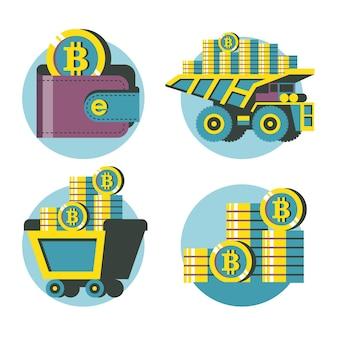 Chariot avec bitcoins, portefeuille avec bitcoins, pile de pièces, camion à benne basculante avec bitcoins. ensemble de cliparts vectoriels. isolé sur fond blanc.