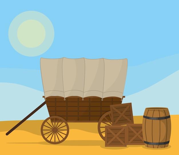 Chariot en bois sur le désert