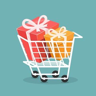 Chariot avec boîte-cadeau, concept de shopping.