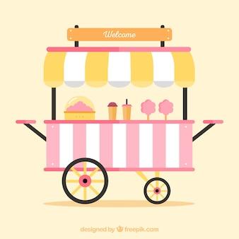Chariot de bonbons en coton avec un design plat