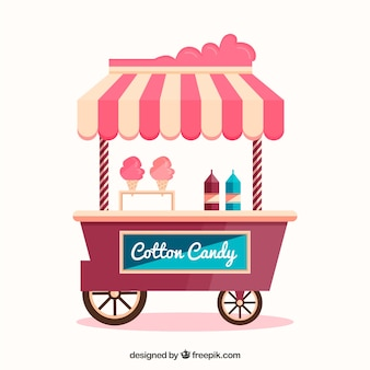 Chariot de bonbons en coton frais