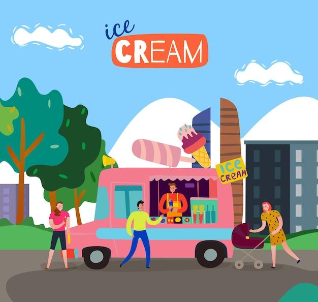 Chariot de camion de nourriture de crème glacée