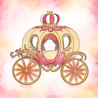 Chariot de cendrillon de conte de fées dessiné à la main