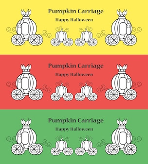 Chariot de citrouille pour halloween avec espace copie