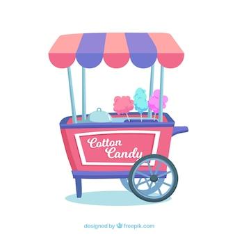 Chariot coloré vendant des bonbons en coton