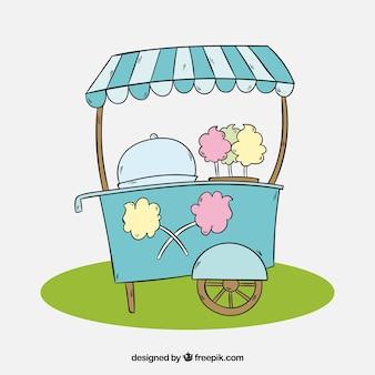 Chariot de coton à coton dessiné à la main sur le gazon
