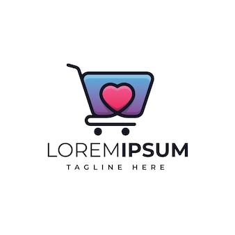 Chariot avec création de logo shopping love