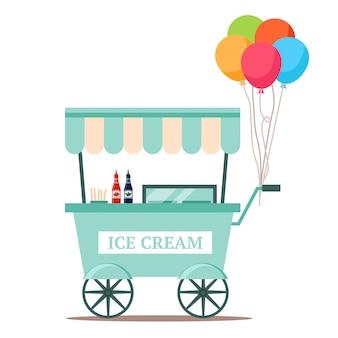 Chariot de crème glacée avec des aliments sucrés surgelés sur blanc