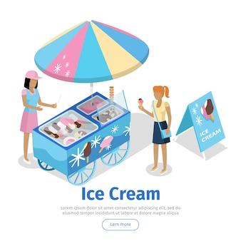 Chariot à crème glacée en projection isométrique. modèle de bannière