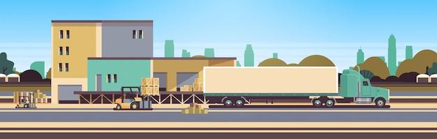 Chariot élévateur déchargement chargement semi remorque entrepôt extérieur livraison internationale