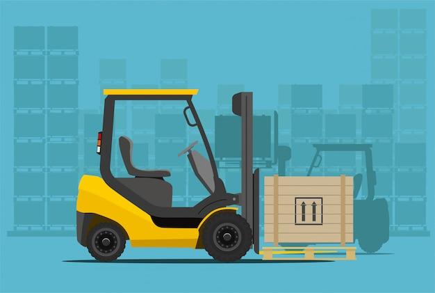 Chariot élévateur en entrepôt. illustration de style.
