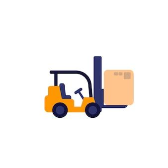 Chariot élévateur avec icône de vecteur de boîte