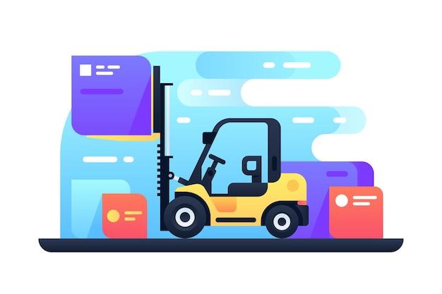 Chariot élévateur en illustration stock. machine à empiler des palettes avec des boîtes par style plat de chargeur empileur technologie moderne. concept logistique et marchandises. isolé