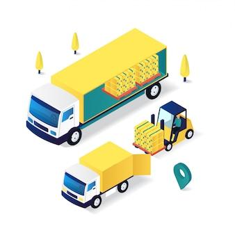 Chariot élévateur, en mouvement, marchandises, livraison, service, plat, 3d, isométrique, illustration