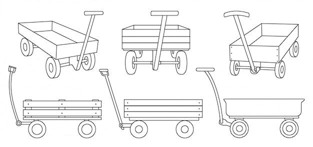 Chariot de jardin dans le style de ligne sur blanc