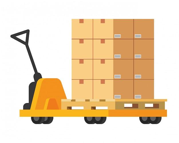 Chariot à main avec illustration de la boîte