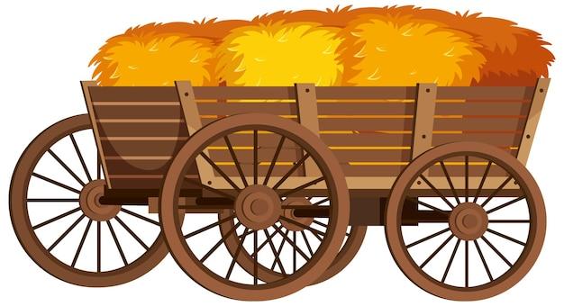 Chariot médiéval en bois avec des meules de foin