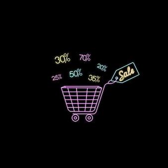 Chariot néon pour faire du shopping. étiquette de vente. conception de modèle pour la remise, le bon, la publicité.