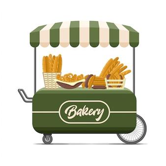 Chariot de nourriture de rue de boulangerie.